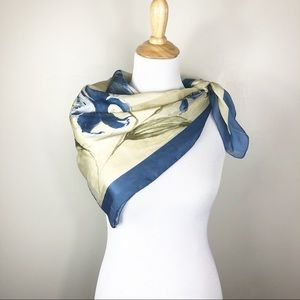 Vintage Blue/Cream Silk Neck Scarf Flowers Soft